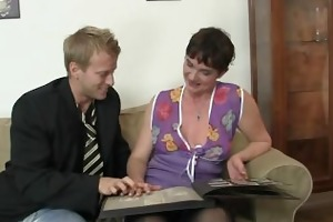 her hairy old cunt receives fucked by unbending