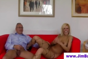 british fishnet babe bonks old dude