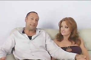 sexy redhead feeds her pussy to guy