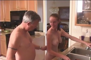 aged guys having fun with younger women at