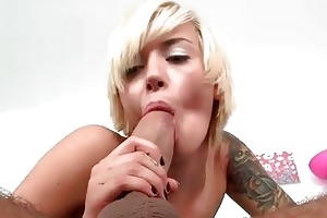 young golden-haired schoolgirl emma mae riding a
