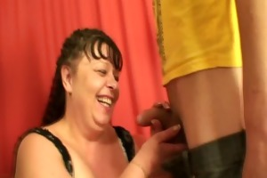 two young studs share mature plumper