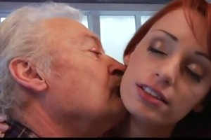 lucky grandpa gustavo fucks super hot redhead babe