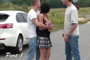 extreme public trio with youthful teen beauty