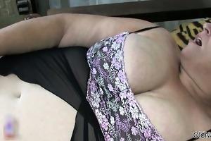 filthy old woman goes crazy masturbating